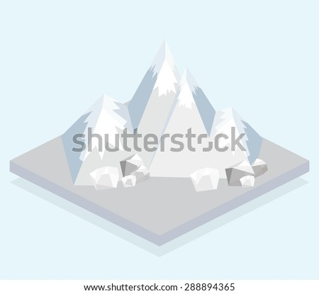 Ski Mountain. Isometric view. Fun cartoon map elements.