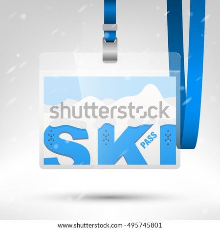 Ski Pass Vector Illustration Blank Ski Stock Vector - Free lanyard template
