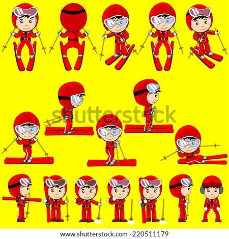 ski player cartoon vector - stock vector