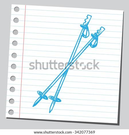 Ski poles - stock vector