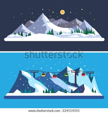 Ski Resort. Mountain landscapes. Vector flat illustrations - stock vector