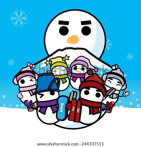 Ski snowboard and snowman, vector illustration - stock vector