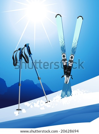 Ski, vector illustration, EPS file included - stock vector