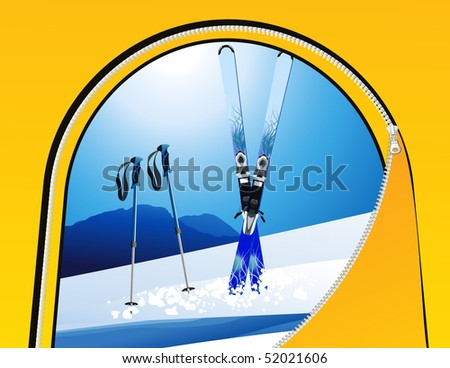 Ski view from the tent, vector illustration - stock vector