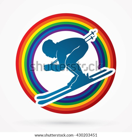Skier designed on line rainbows background graphic vector.