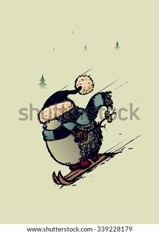 Skier hedgehog.Sweet and funny looking character with scarf,cap and mittens - stock vector