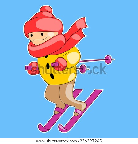 skier on a blue background  - stock vector