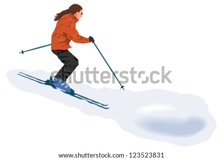 Skier on the piste - stock vector