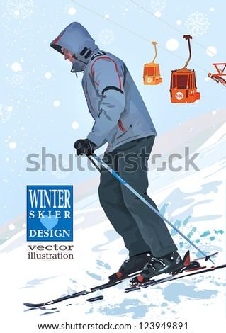 Skier, winter sports vector illustration - stock vector