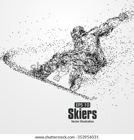 Skiers,particle divergent composition, vector illustration. - stock vector