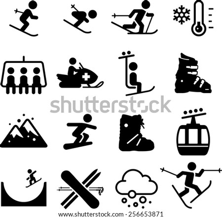 Skiing and snowboarding icons. Vector icons for digital and print projects. - stock vector