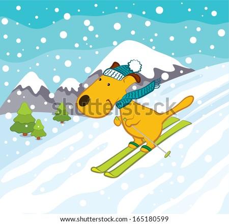 Skiing Dog in Winter Landscape - stock vector