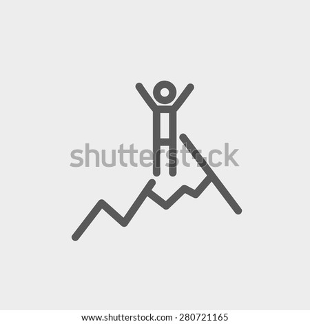 Skiing in ice mountain icon thin line for web and mobile, modern minimalistic flat design. Vector dark grey icon on light grey background. - stock vector