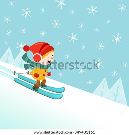 Skiing Kid - stock vector