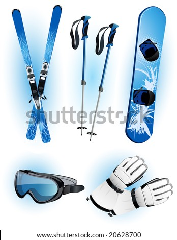 Skiing objects, vector illustration, EPS file included - stock vector