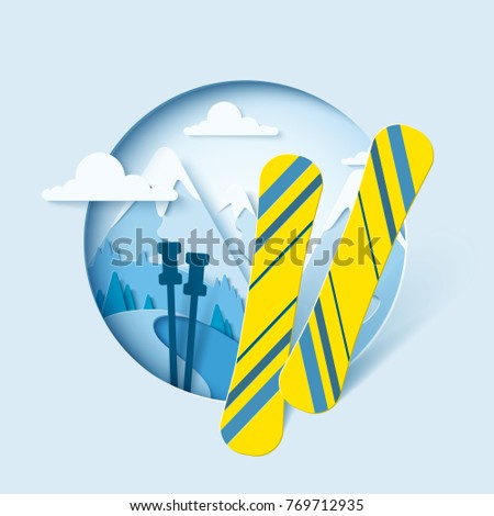 Skiing paper cut banner. Winter mountain paper landscape background with ski. Vector poster for skiing resort