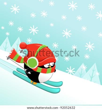 Skiing Penguin - stock vector