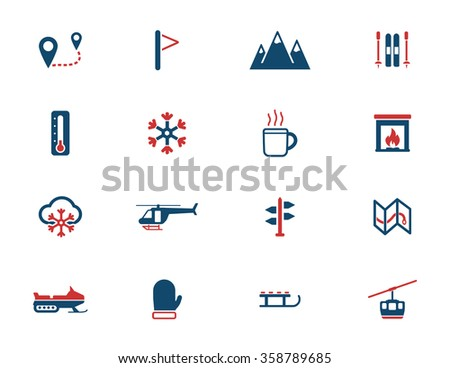 Skiing  simply icons for web - stock vector