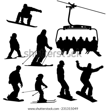 Skiing, snowboarding people and ski lift vector silhouettes set - stock vector