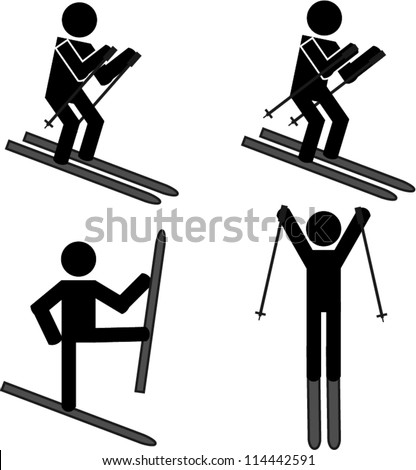 Skiing stick man - stock vector