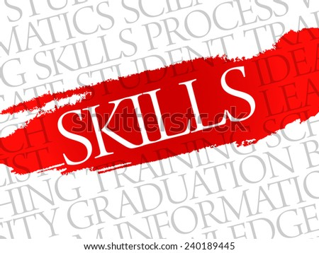 SKILLS. Word education collage on gray vector background