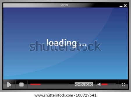skin for web video player - stock vector