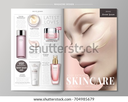 Skincare magazine ads, skincare products with beautiful model in 3d illustration