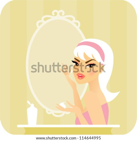 Skincare series-Moisturize. Young woman applying moisturizer on her face with her hands in front of a vanity mirror - stock vector