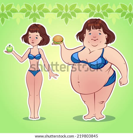 Skinny and fat girl with an apple and hamburger