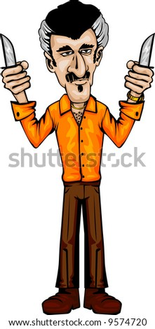 skinny lou -see my other mobsters - stock vector