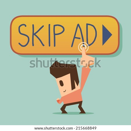 Skip ad and block it. Flat vector illustration - stock vector