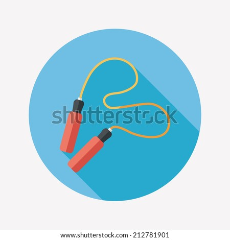 Skipping rope flat icon with long shadow - stock vector