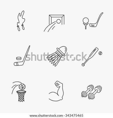 Skipping rope, football and golf icons. Hockey, baseball and badminton linear signs. Basketball, biceps and fitness sport icons. Linear black icons on white background. - stock vector