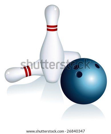 Skittles and bowling ball, vector illustration, EPS file included