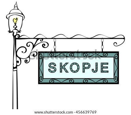 Skopje retro pointer lamppost.