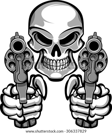 skull aiming with two revolvers - stock vector