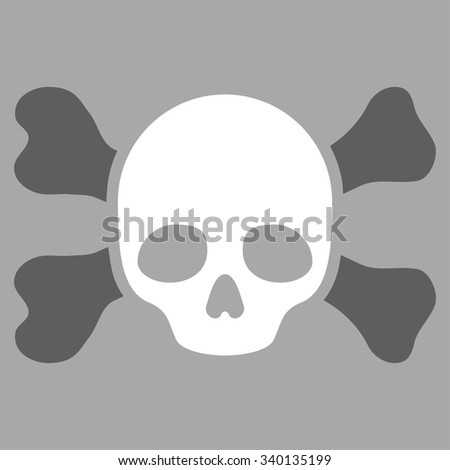 Skull And Bones vector icon. Style is bicolor flat symbol, dark gray and white colors, rounded angles, silver background. - stock vector
