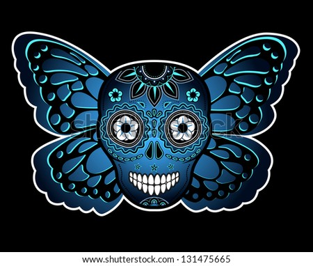 Skull and butterfly - stock vector