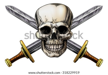 Skull and cross swords pirate symbol in a vintage woodblock style