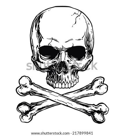 Skull and crossbones - stock vector