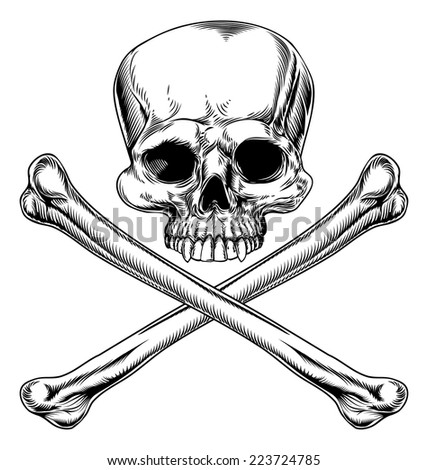 Skull and crossbones illustration in a vintage woodcut style - stock vector