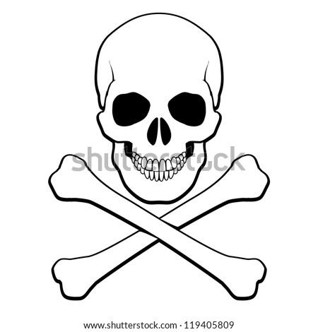 Skull and crossbones. Illustration on white background for design - stock vector