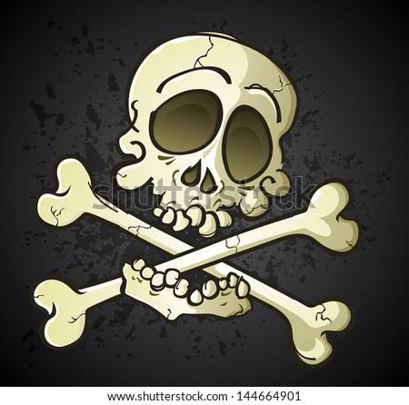 Skull and Crossbones Jolly Roger Cartoon Character - stock vector