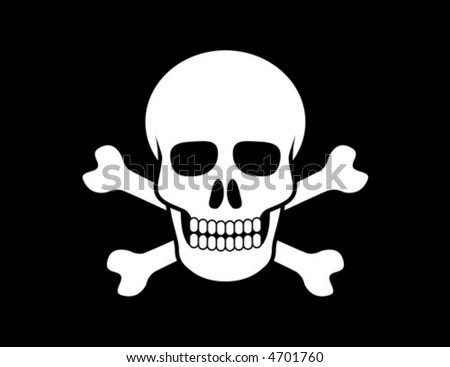 Skull and Crossbones on black background - stock vector