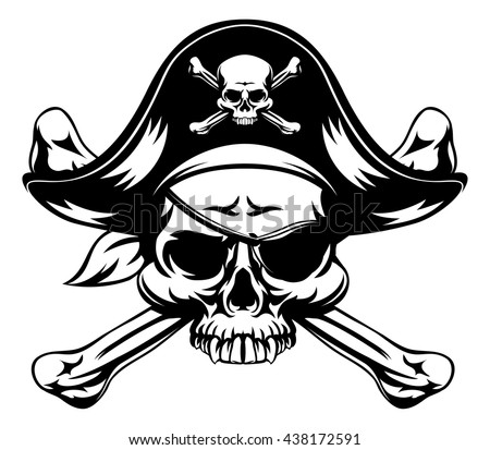 Skull and crossbones pirate jolly roger wearing hat and eye patch - stock vector