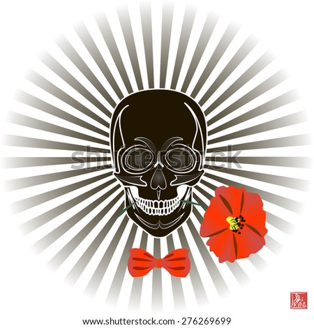 Skull and Flower, Day of The Dead, Vintage Vector illustration. Fashionable design for T-shirts - stock vector