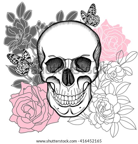 Skull and flowers. Day of The Dead. Vintage Vector. - stock vector