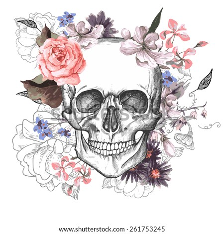 Skull and Flowers Day of The Dead, Vintage Vector illustration - stock vector