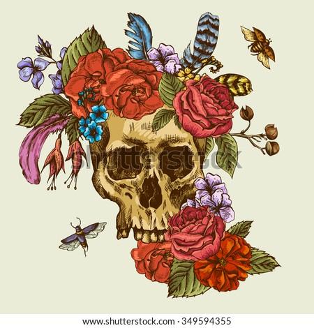 skull flowers day dead stock vector   shutterstock, Beautiful flower