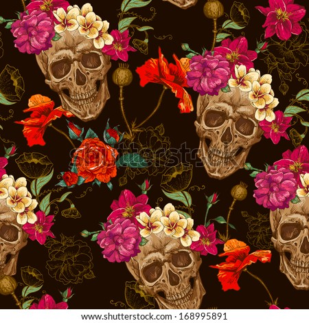 Skull and Flowers Seamless Background - stock vector